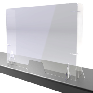 Free standing Perspex screens with returns