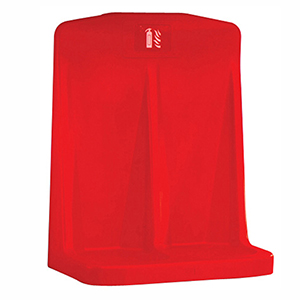 Red Double Fire Extinguisher Stand with Recessed Base, Free Standing